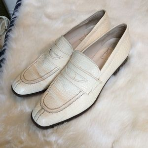 Vintage Joan & David White Snake Leather Loafers